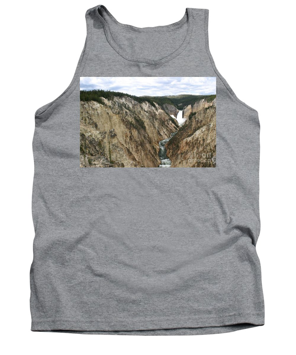 Lower Falls Tank Top featuring the photograph Wide View Of The Lower Falls In Yellowstone by Living Color Photography Lorraine Lynch