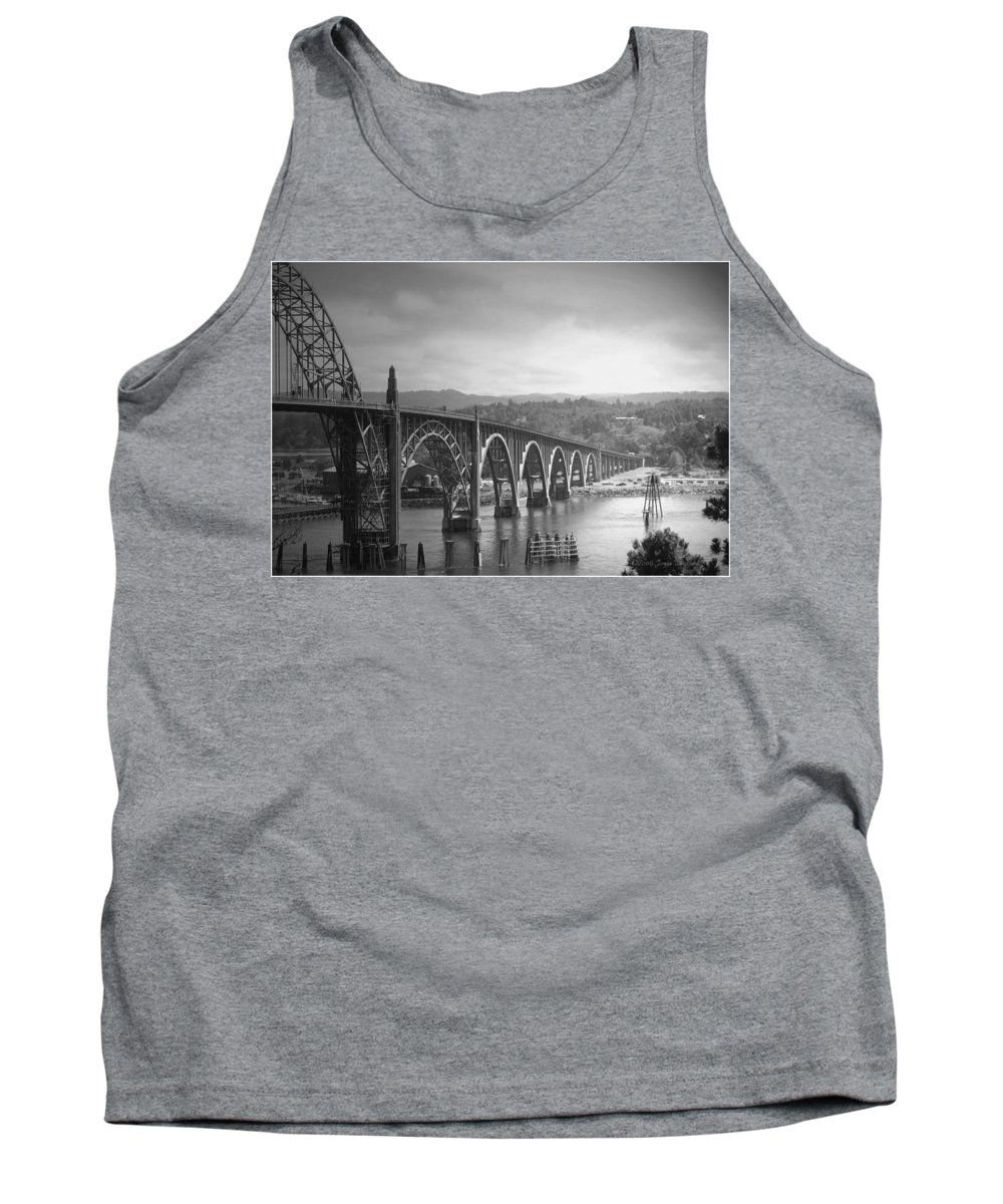 Yaquina Tank Top featuring the photograph Yaquina Bay Bridge Oregon B And W by Joyce Dickens