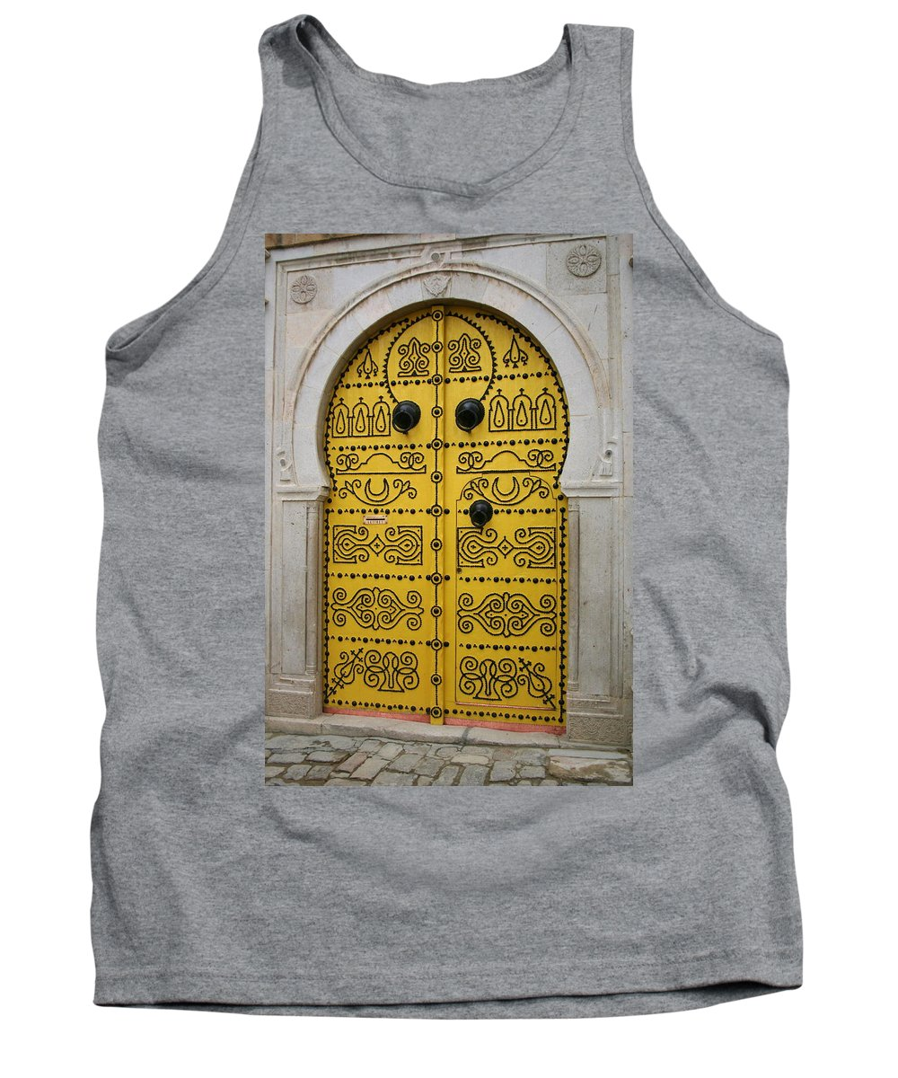 Yellow Tank Top featuring the photograph Yellow Door In Bardo by Laurel Talabere