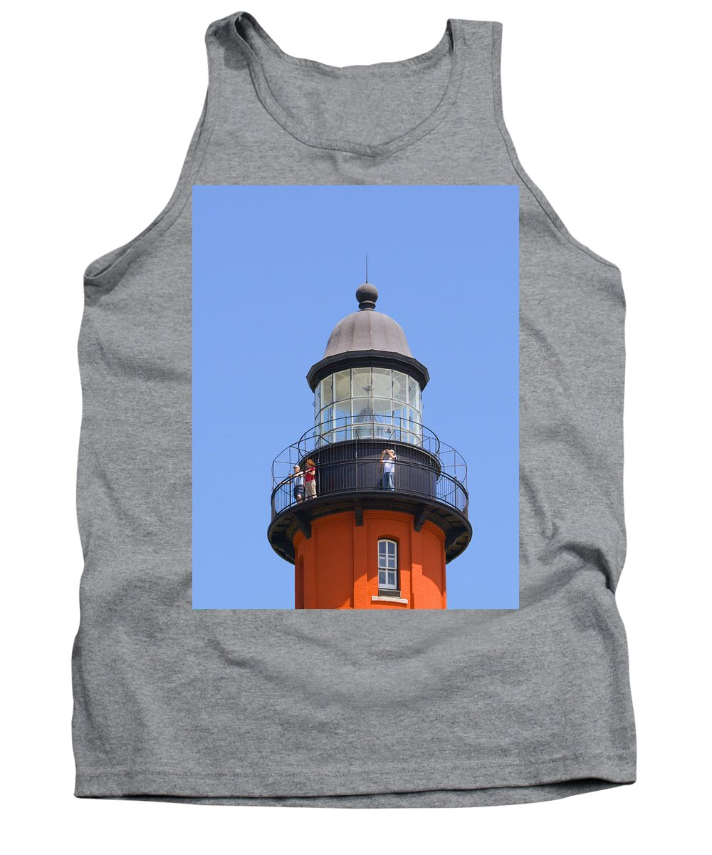 Ponce; De; Leon; Lighthouse; Light; House; Beacon; Navigation; Aid; Lens; Fresnel; Mosquito; Florida Tank Top featuring the photograph Ponce De Leon Inlet Lighthouse by Allan Hughes