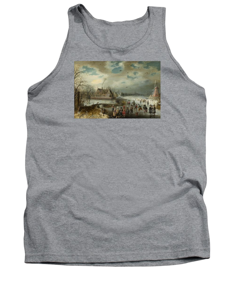 Van Breen Tank Top featuring the painting Skating On The Frozen Amstel River by Celestial Images