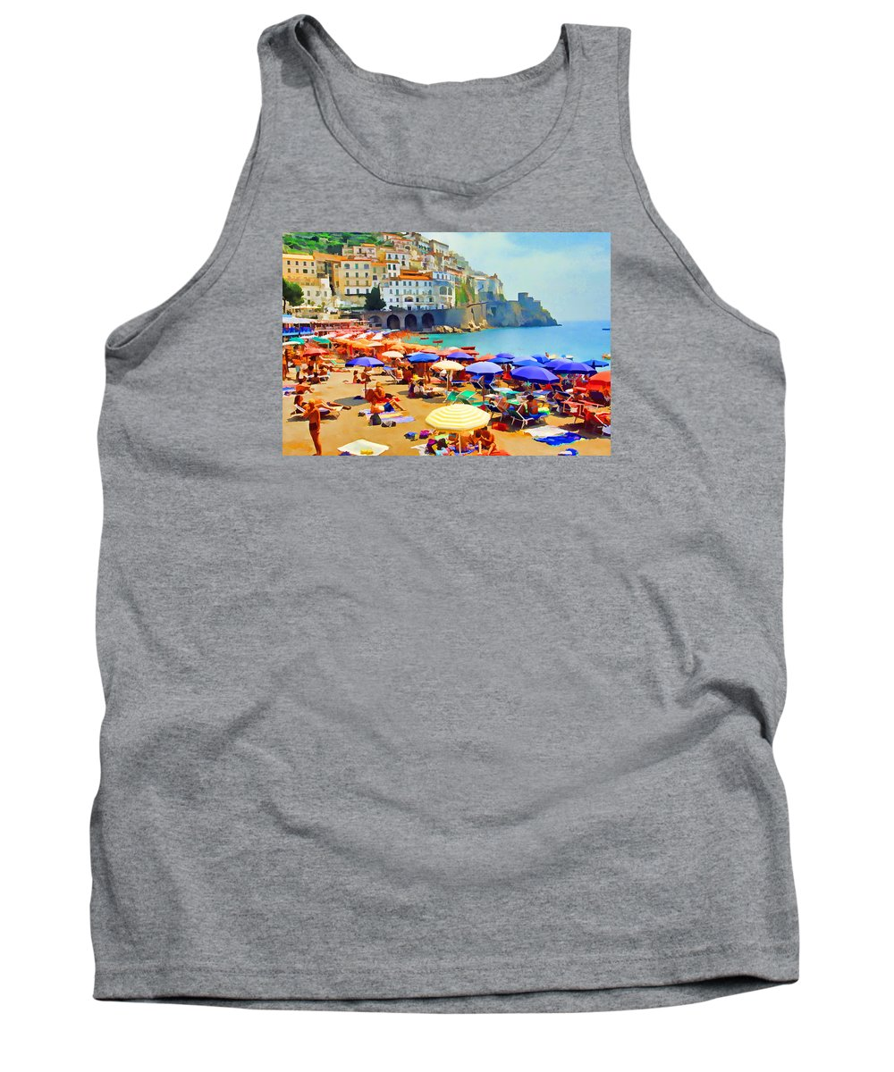 Italy Tank Top featuring the photograph Amalfi Beach by Dennis Cox