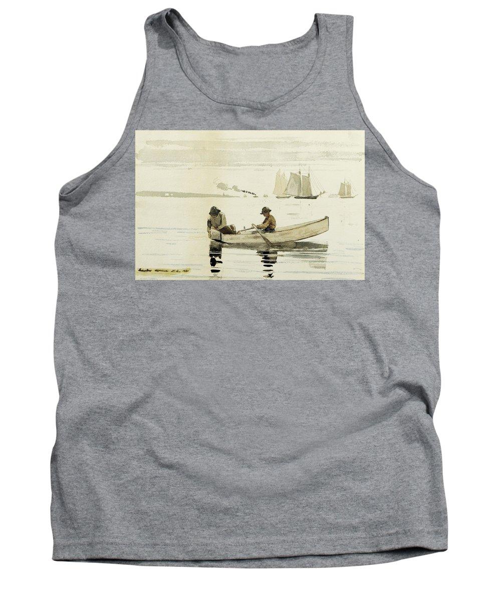 Winslow Homer - Boys Fishing Tank Top featuring the painting Boys Fishing by Winslow Homer