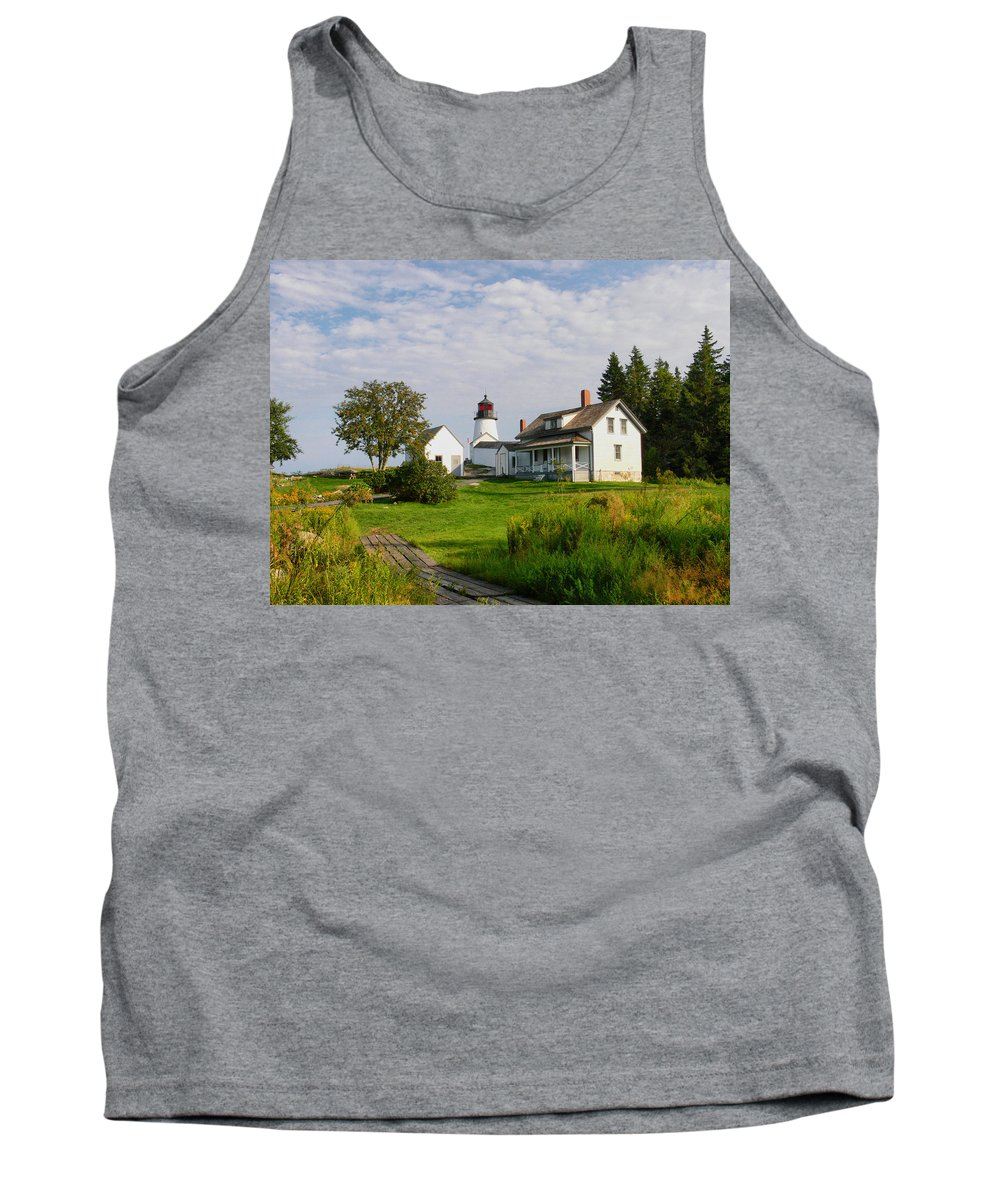 New England Lighthouse Tank Top featuring the photograph Burnt Island Lighthouse by Nancie DeMellia