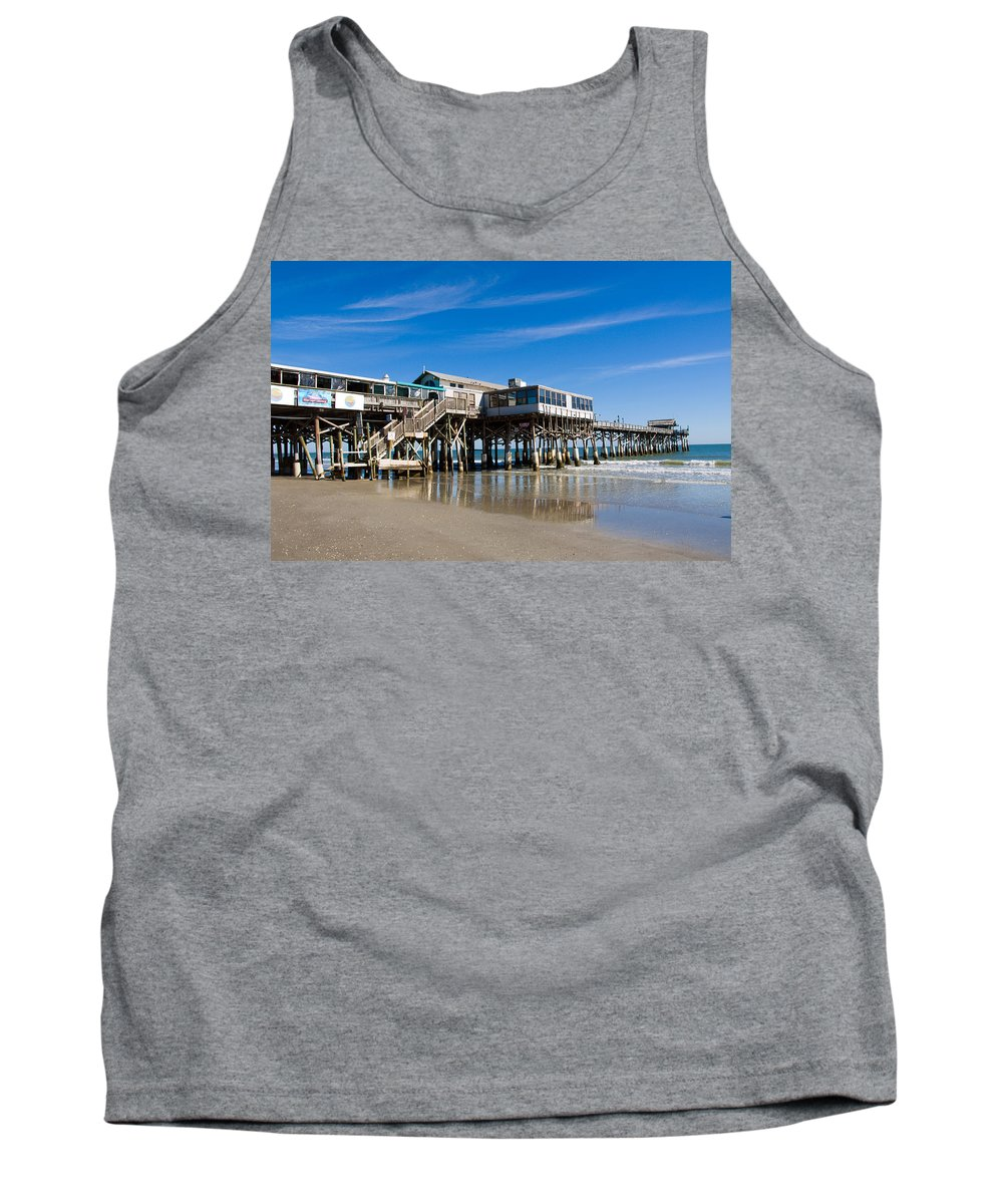 Florida; Cocoa; Beach; Atlantic; Ocean; East; Space; Coast; Brevard; Central; Pier; Surf; Surfing; F Tank Top featuring the photograph Cocoa Beach Florida by Allan Hughes