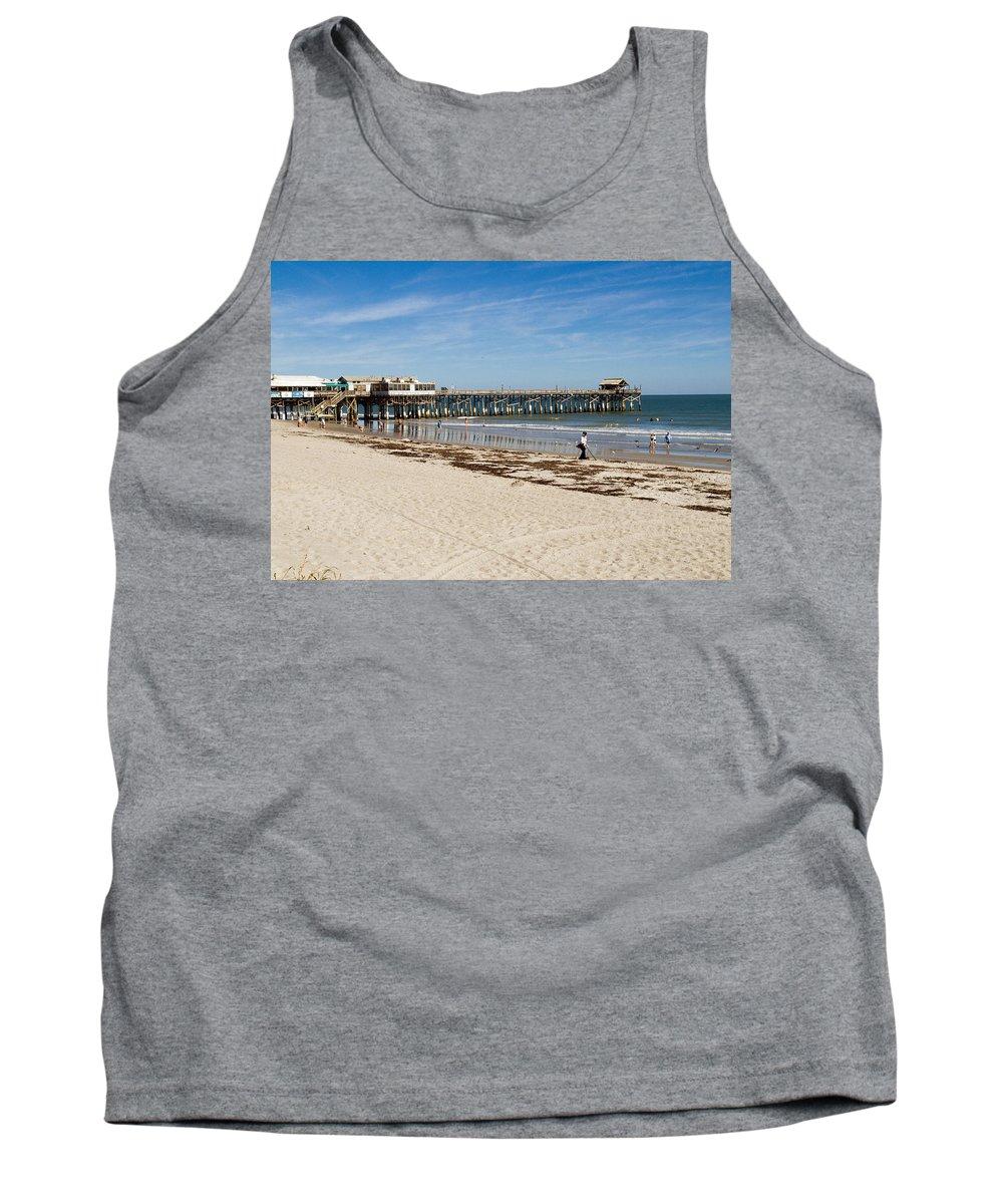 Florida; Cocoa; Beach; Atlantic; Ocean; East; Space; Coast; Brevard; Central; Pier; Surf; Surfing; F Tank Top featuring the photograph Cocoa Beach In Florida by Allan Hughes