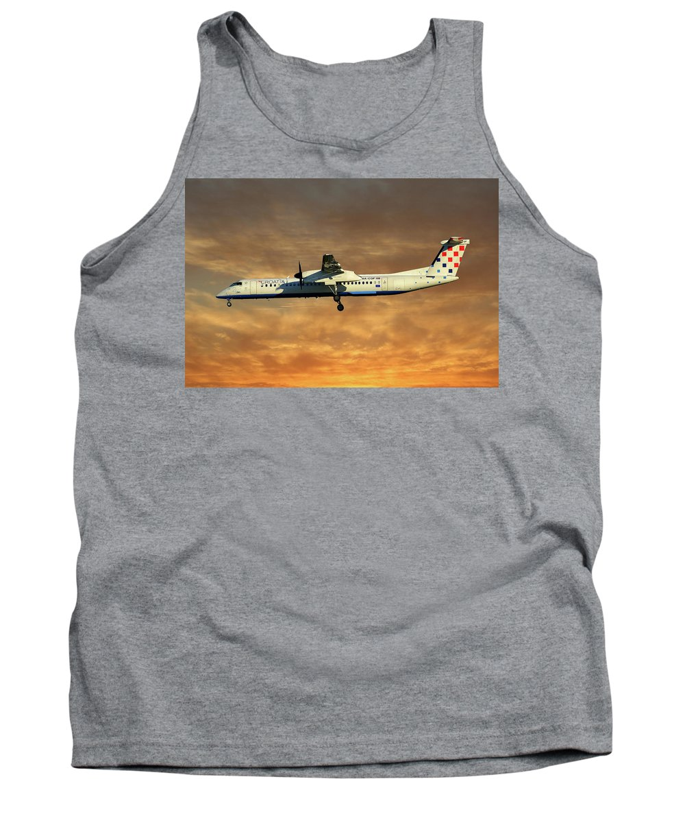 Croatia Tank Top featuring the photograph Croatia Airlines Bombardier Dash 8 Q400 by Smart Aviation