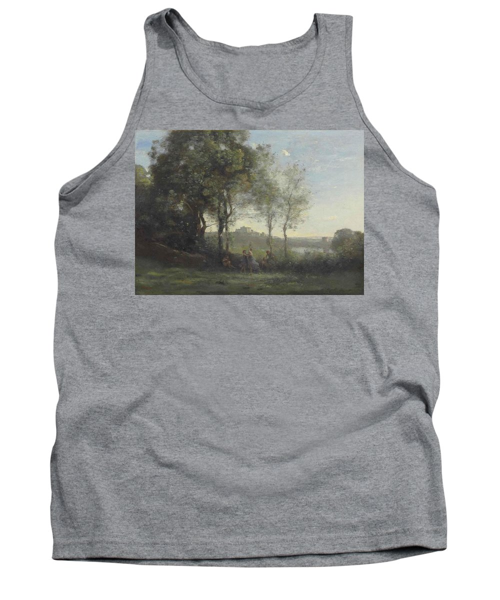 Jean Baptiste Camille Corot Tank Top featuring the painting Dancers Of Castel Gandolfo by Jean Baptiste