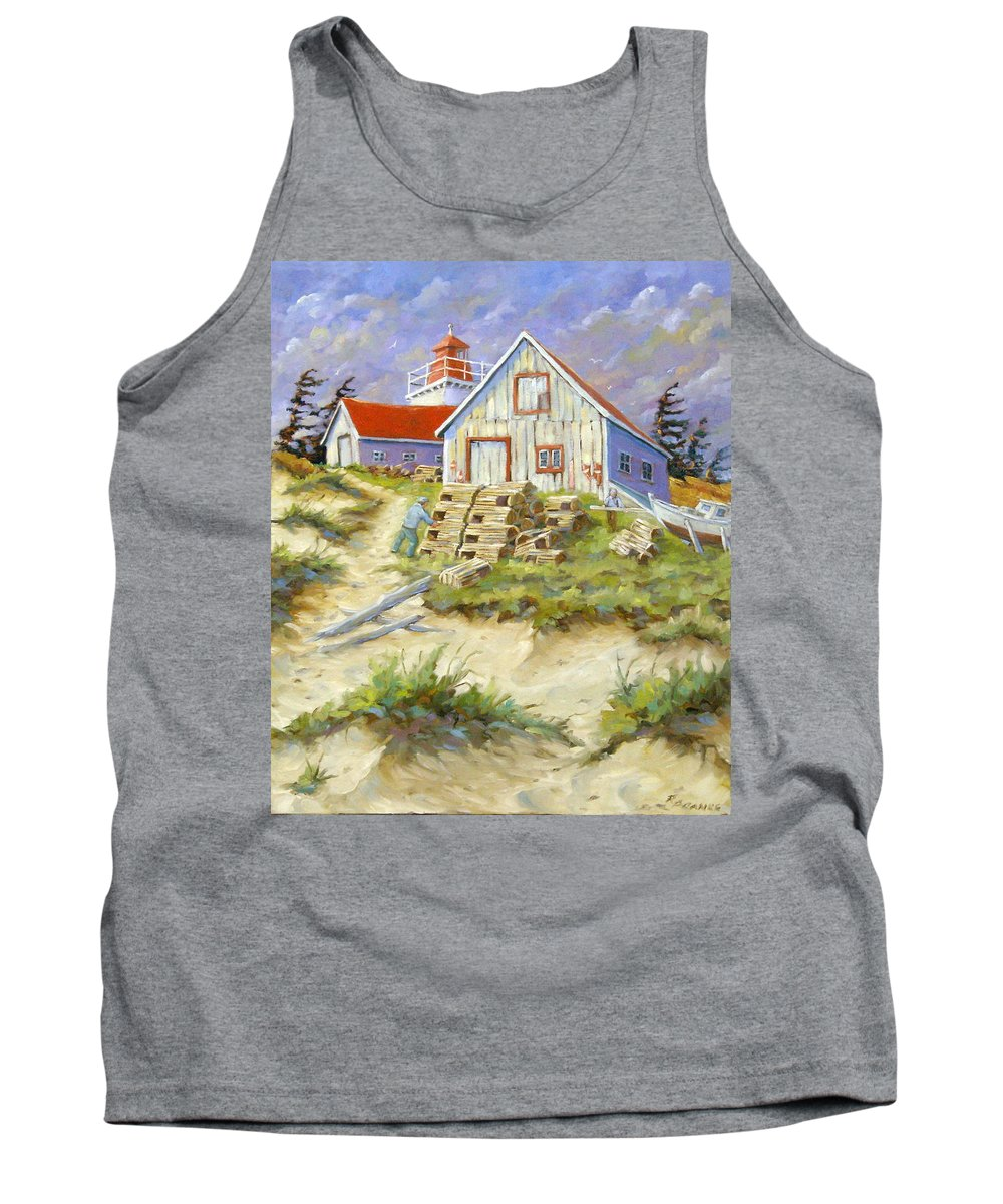 Art Tank Top featuring the painting End Of Lobster Season by Richard T Pranke