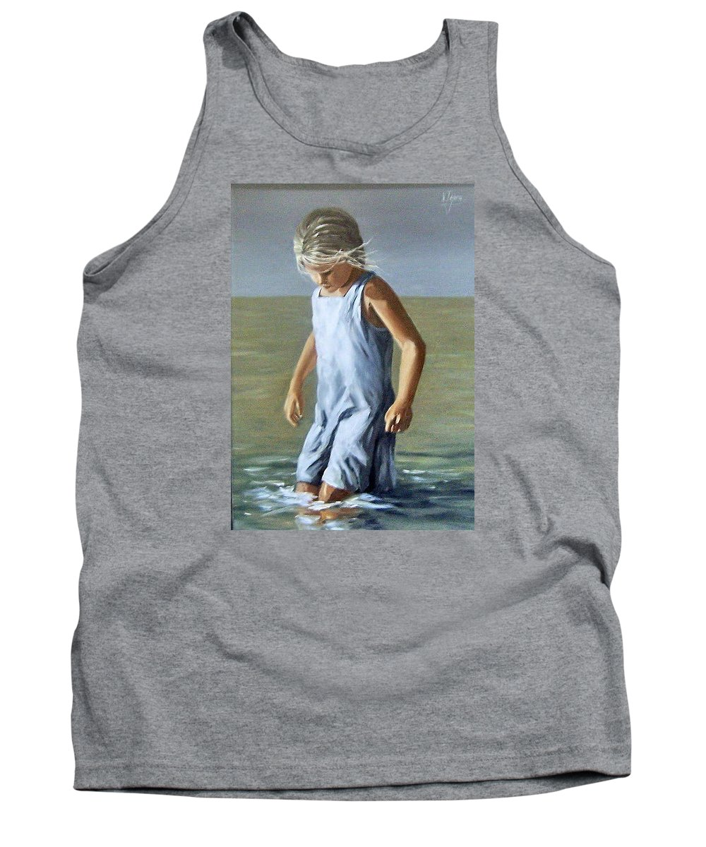 Girl Children Reflection Water Sea Figurative Portrait Tank Top featuring the painting Girl by Natalia Tejera