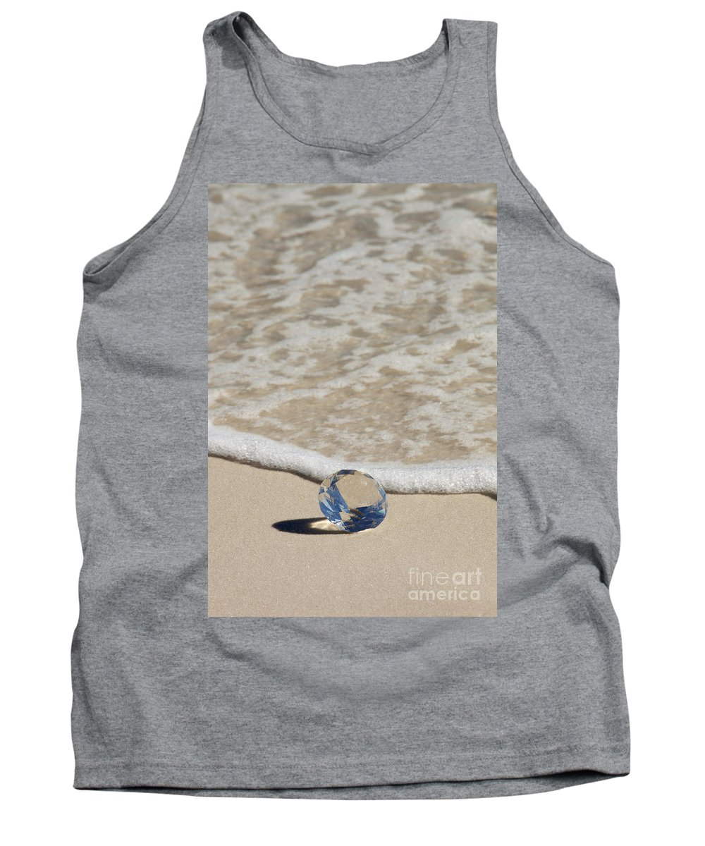 Beach Tank Top featuring the photograph Glass Diamond On The Beach by Anthony Totah
