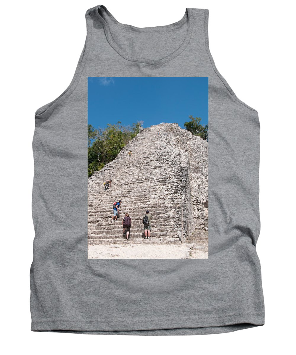 Mexico Quintana Roo Tank Top featuring the digital art Grupo Nohoch Mul At The Coba Ruins by Carol Ailles