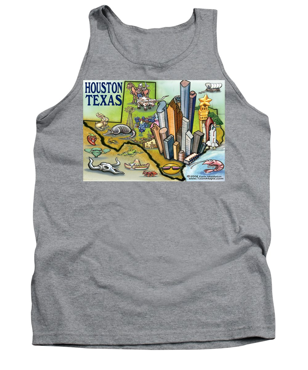 Houston Tank Top featuring the digital art Houston Texas Cartoon Map by Kevin Middleton