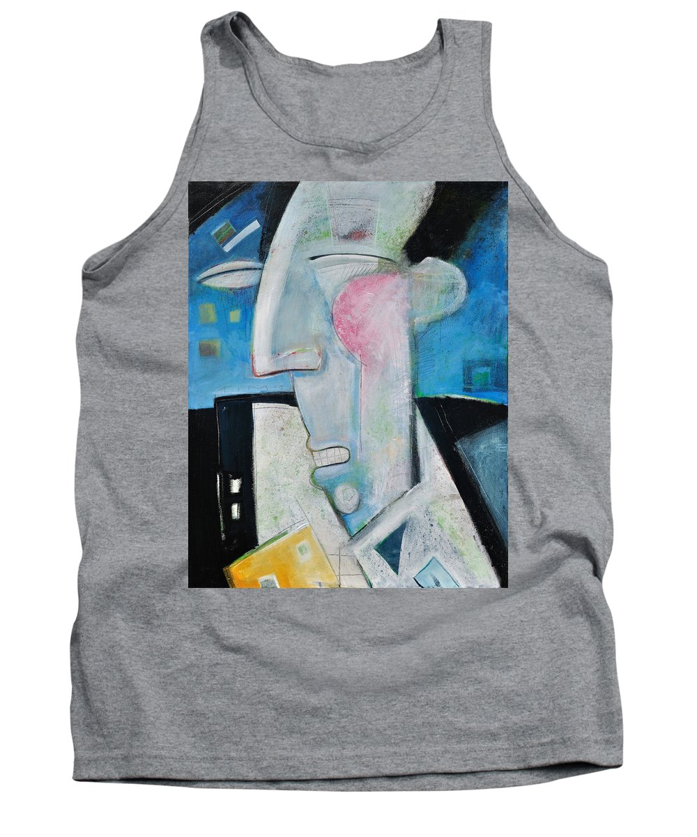 Jazz Tank Top featuring the painting Jazz Face by Tim Nyberg