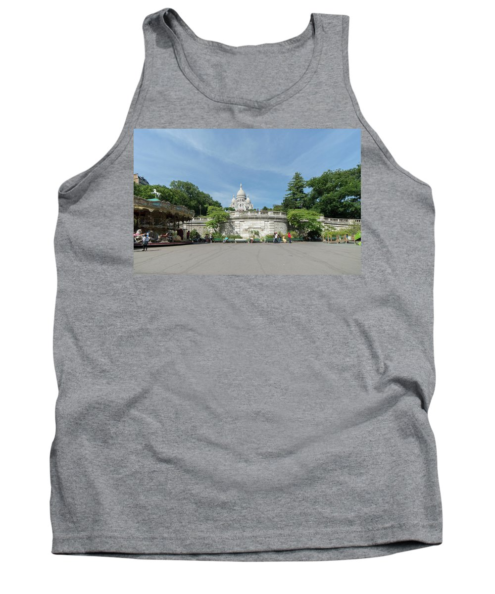 Cathedral Tank Top featuring the digital art Montmarte Paris Sacre-coeur by Carol Ailles