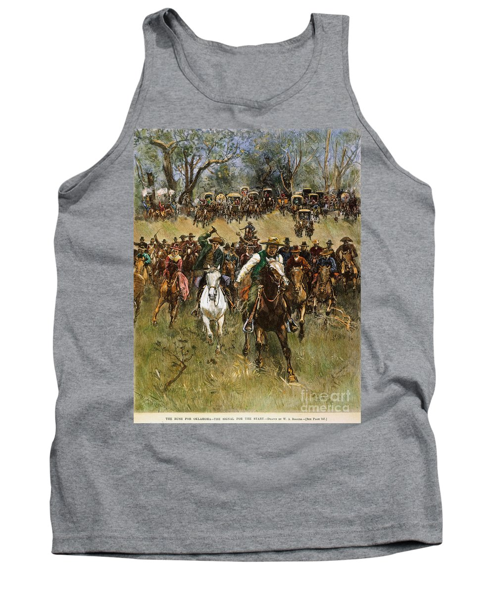 1891 Tank Top featuring the photograph Oklahoma Land Rush, 1891 by Granger