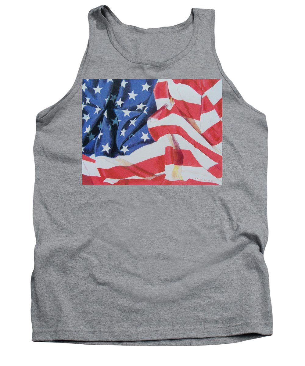 Flag Tank Top featuring the mixed media Old Glory by Constance Drescher