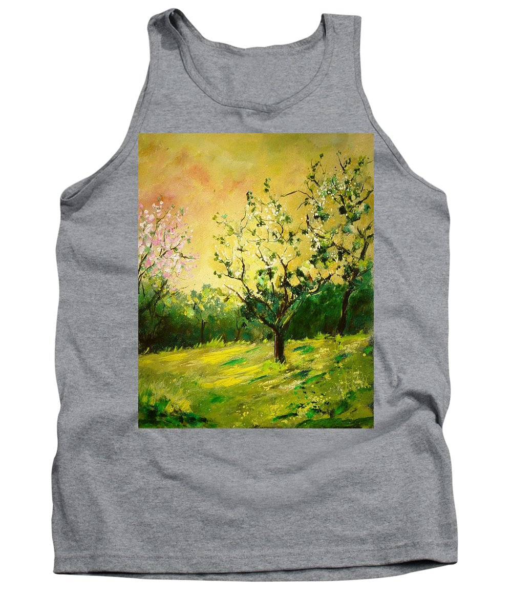 Spring Tank Top featuring the painting Orchard 45 by Pol Ledent
