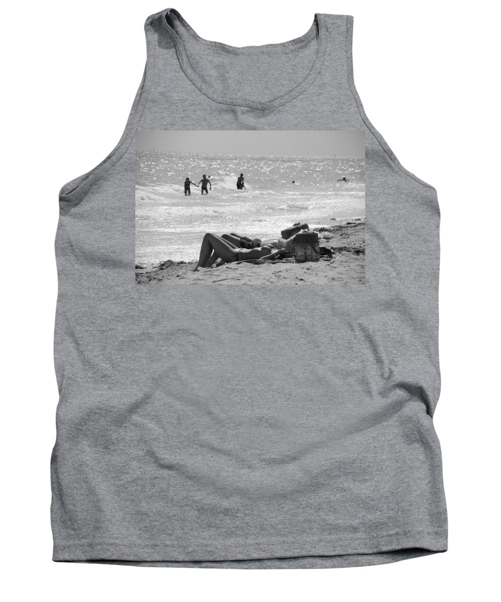 Black And White Tank Top featuring the photograph Paradise Beach by Rob Hans