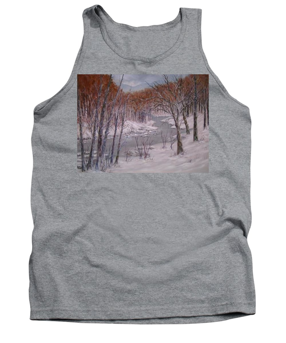 Snow; Landscape Tank Top featuring the painting Peace And Quiet by Ben Kiger