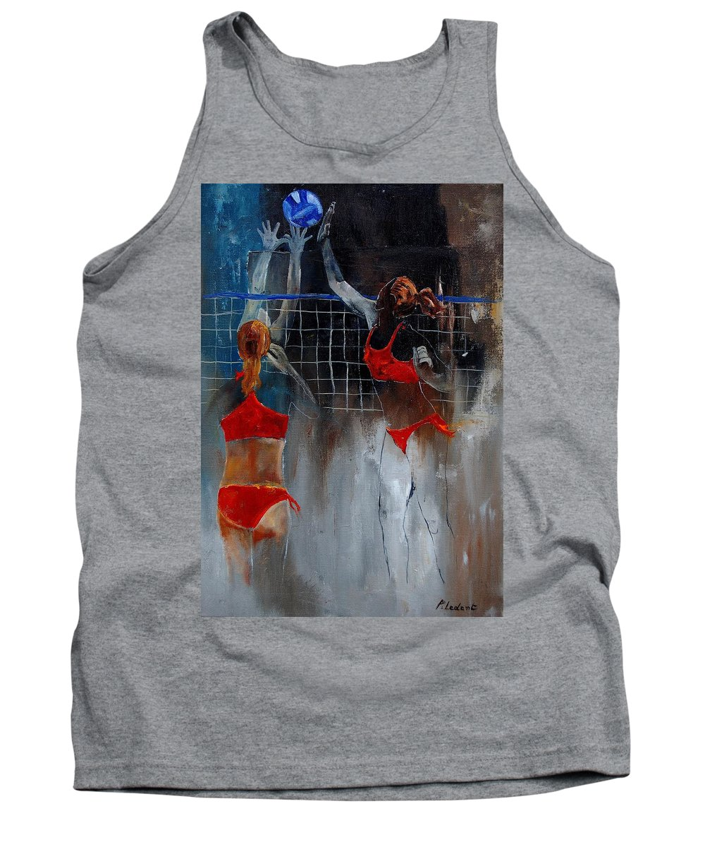 Sport Tank Top featuring the painting Playing Volley by Pol Ledent