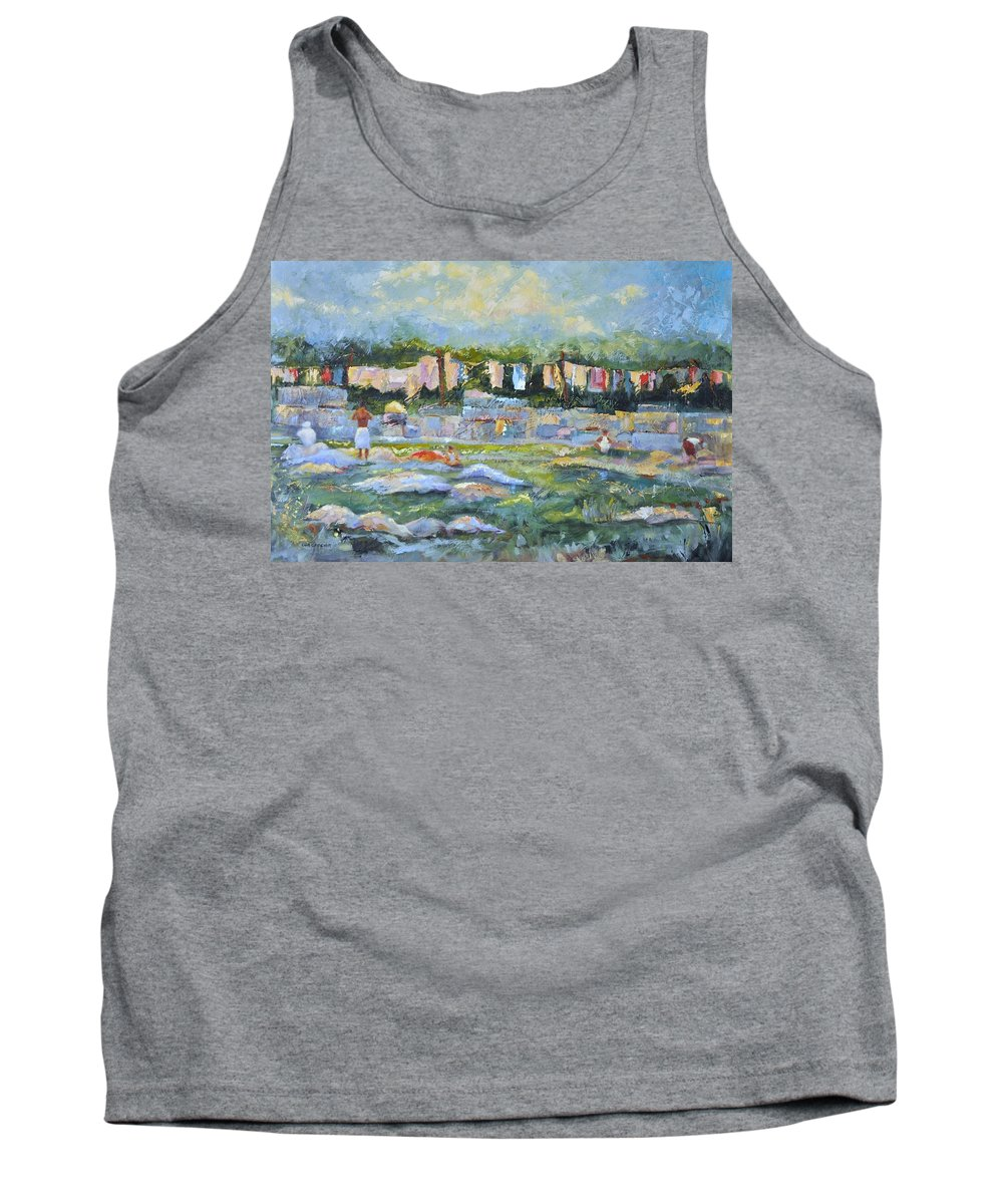 Mumbai Public Scenes Tank Top featuring the painting Public Laundry Mumbai by Ginger Concepcion