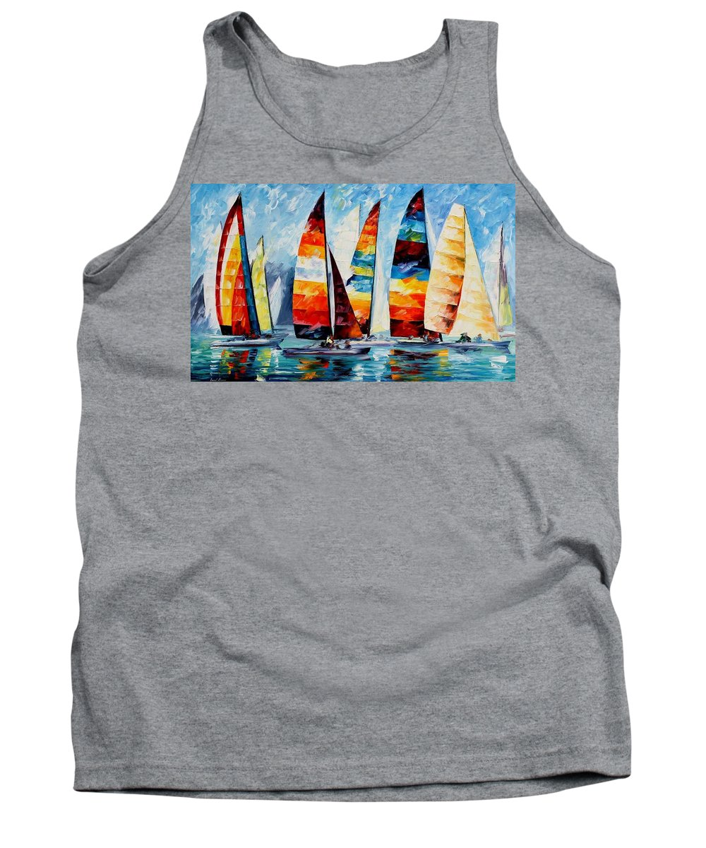 Afremov Tank Top featuring the painting Sail Regatta by Leonid Afremov