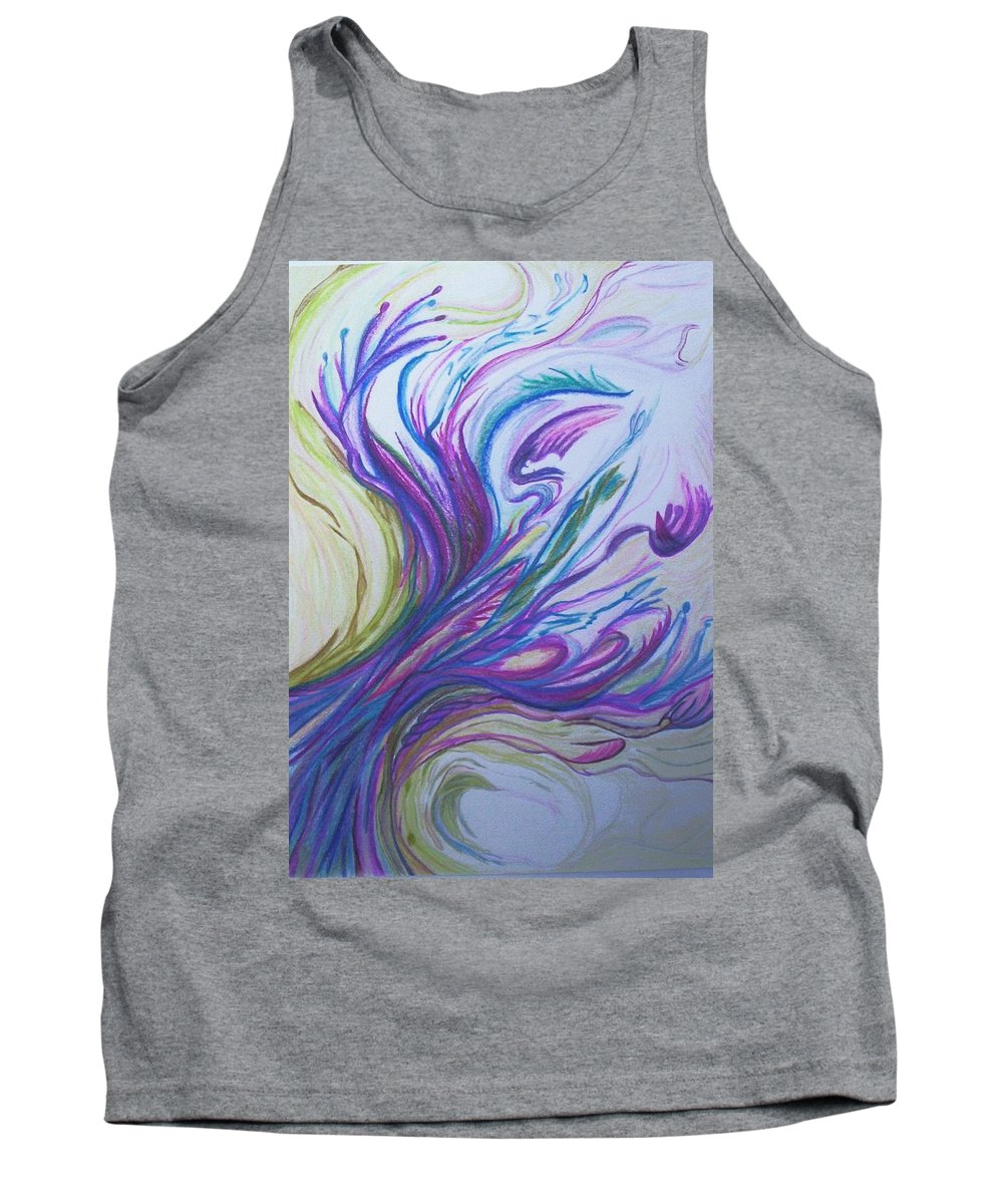 Abstract Tank Top featuring the painting Seaweedy by Suzanne Udell Levinger
