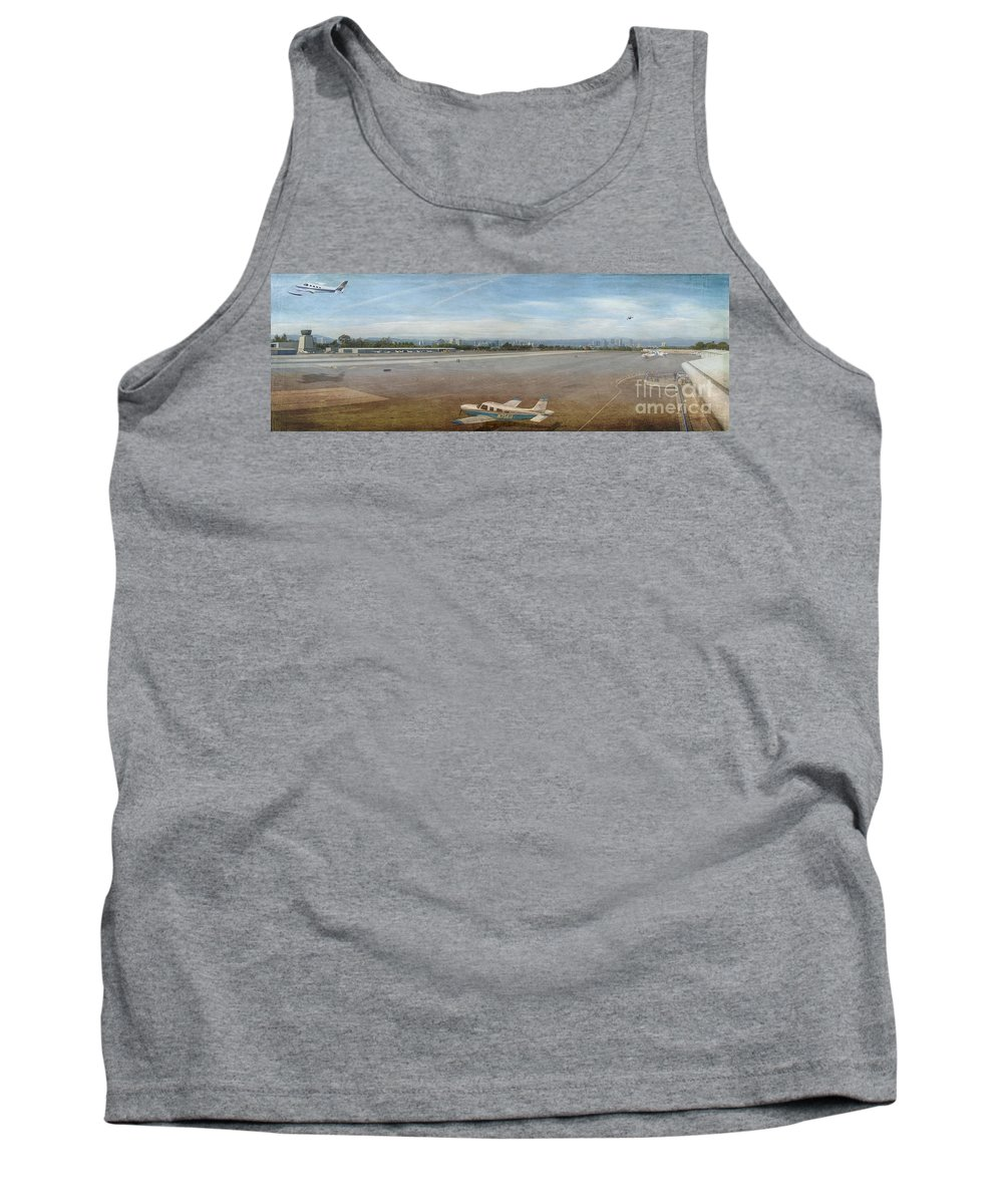 Small City Airport Planes Taking Off Fine Art Photograph Digital Watercolor Texture Overlay Tank Top featuring the photograph Small City Airport Plane Taking Off by David Zanzinger