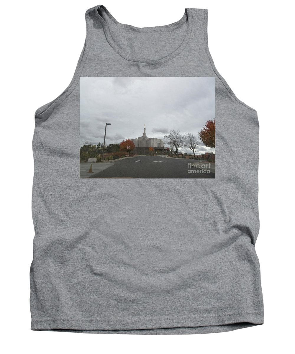 Snowflake Tank Top featuring the photograph Snowflake Mormon Temple by Frederick Holiday