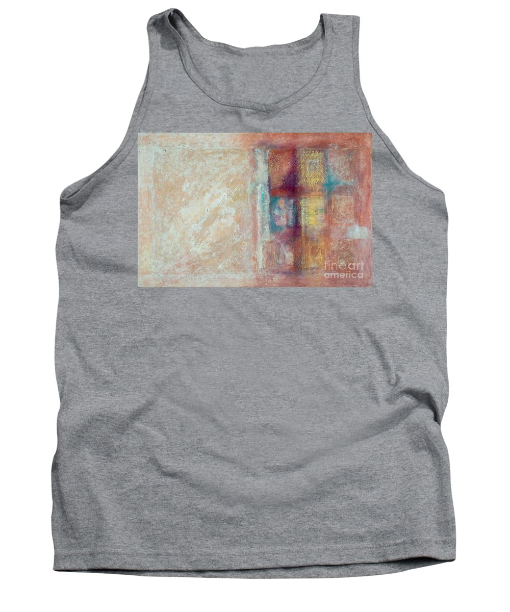 Mixed-media Tank Top featuring the painting Spirit Matter Cosmos by Kerryn Madsen-Pietsch