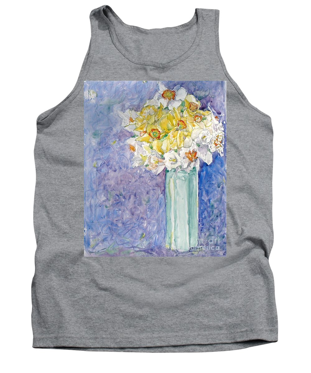 Watercolor Tank Top featuring the painting Spring Blossoms by Jan Bennicoff