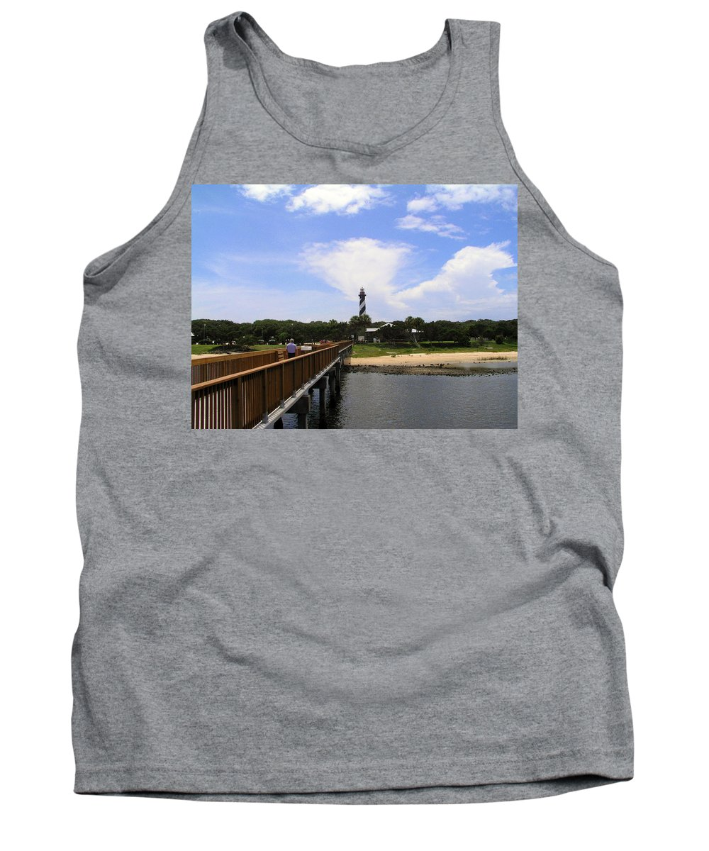 Lighthouse; Light; House; Keeper; St. Augustine; Florida; Coast; Shine; Fog; Storms; U.s.; Coast Gua Tank Top featuring the photograph St Augustine Light On The Atlantic Coast Of Florida by Allan Hughes