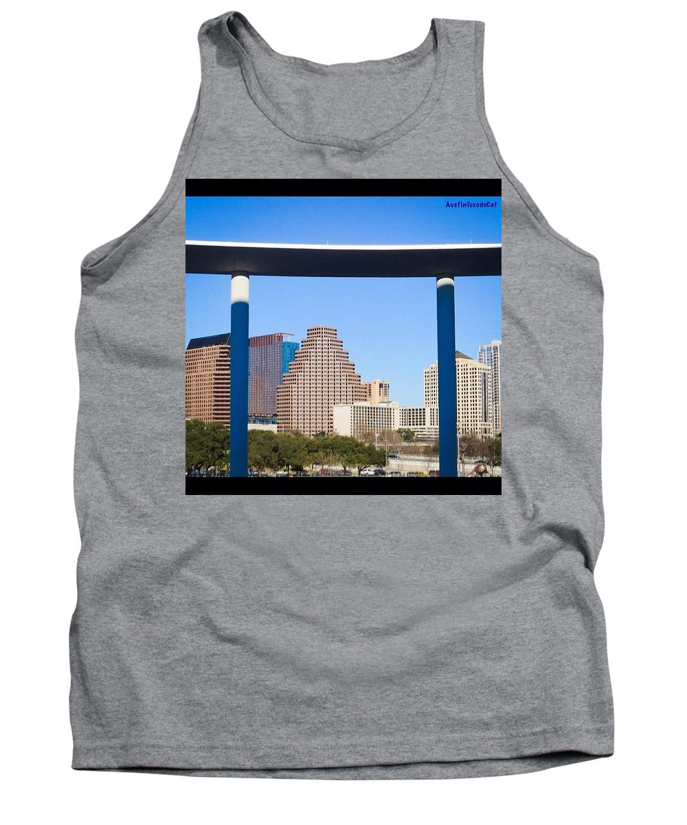 Buildings Tank Top featuring the photograph The Calm Before The #sxsw Storm - The by Austin Tuxedo Cat