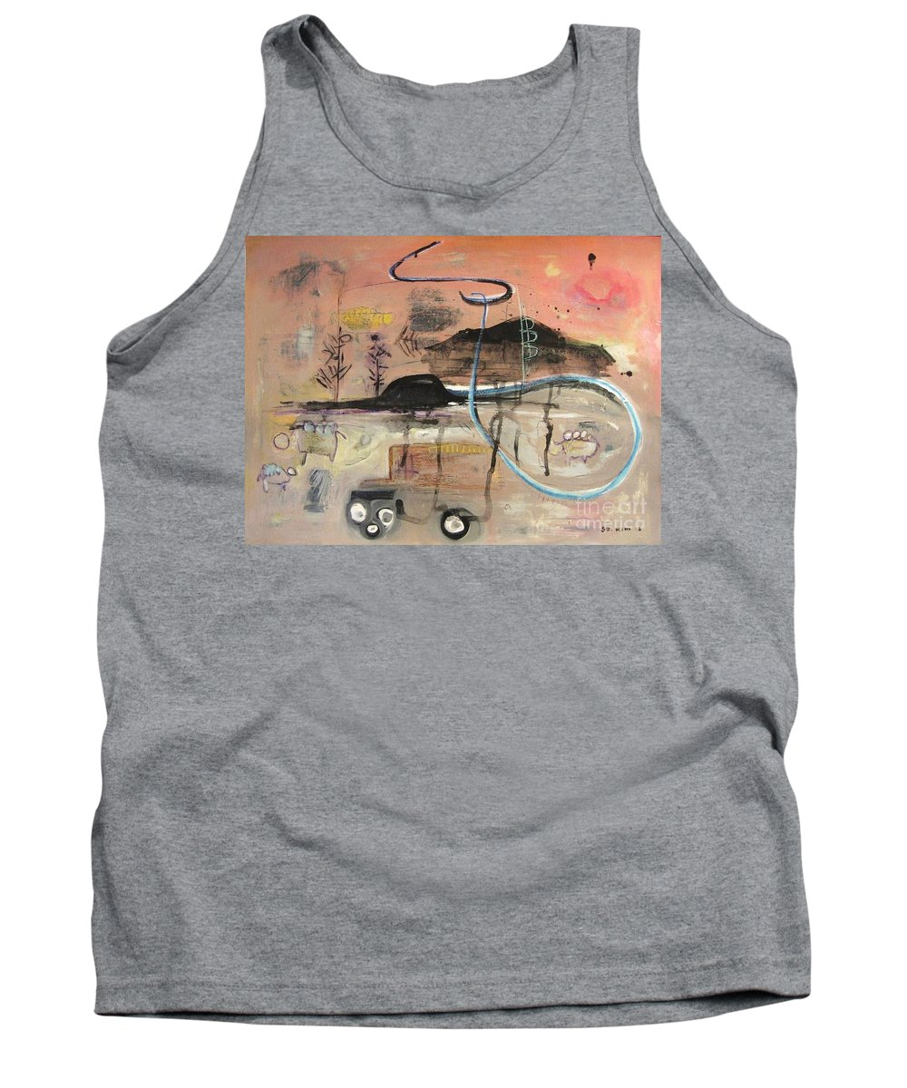 Acrylic Paper Canvas Abstract Contemporary Landscape Dusk Twilight Countryside Tank Top featuring the painting The Tempo Of A Day by Seon-Jeong Kim