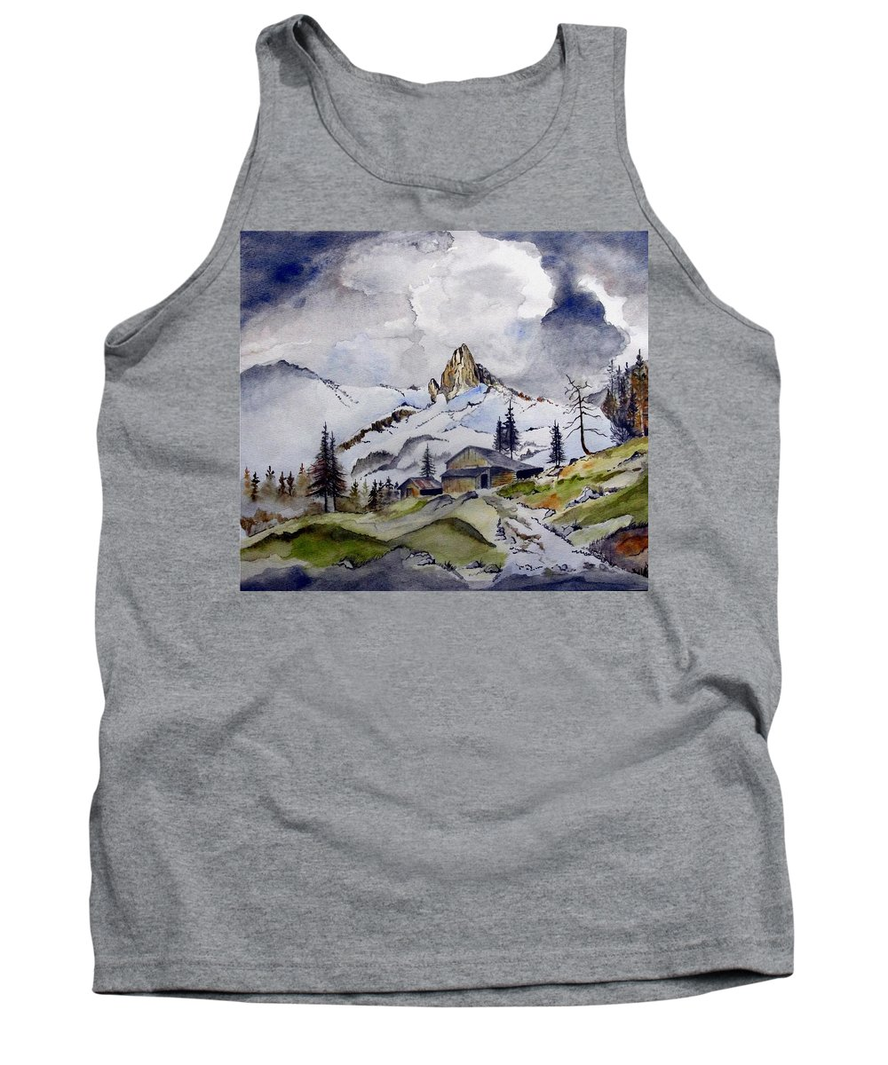 Cabin Tank Top featuring the painting Tigers Tooth Peak by Jimmy Smith