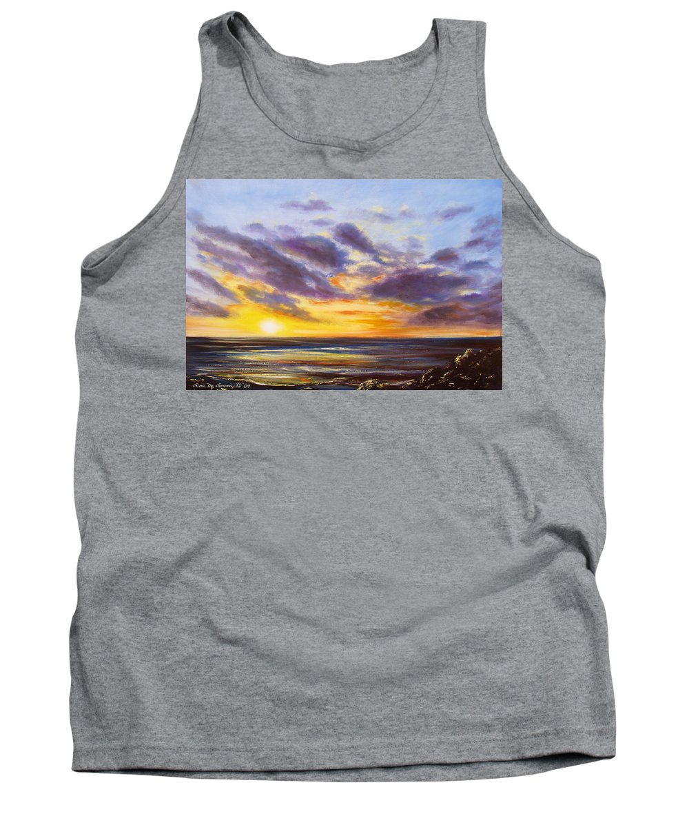 Tropical Tank Top featuring the painting Tropical Sunset by Gina De Gorna