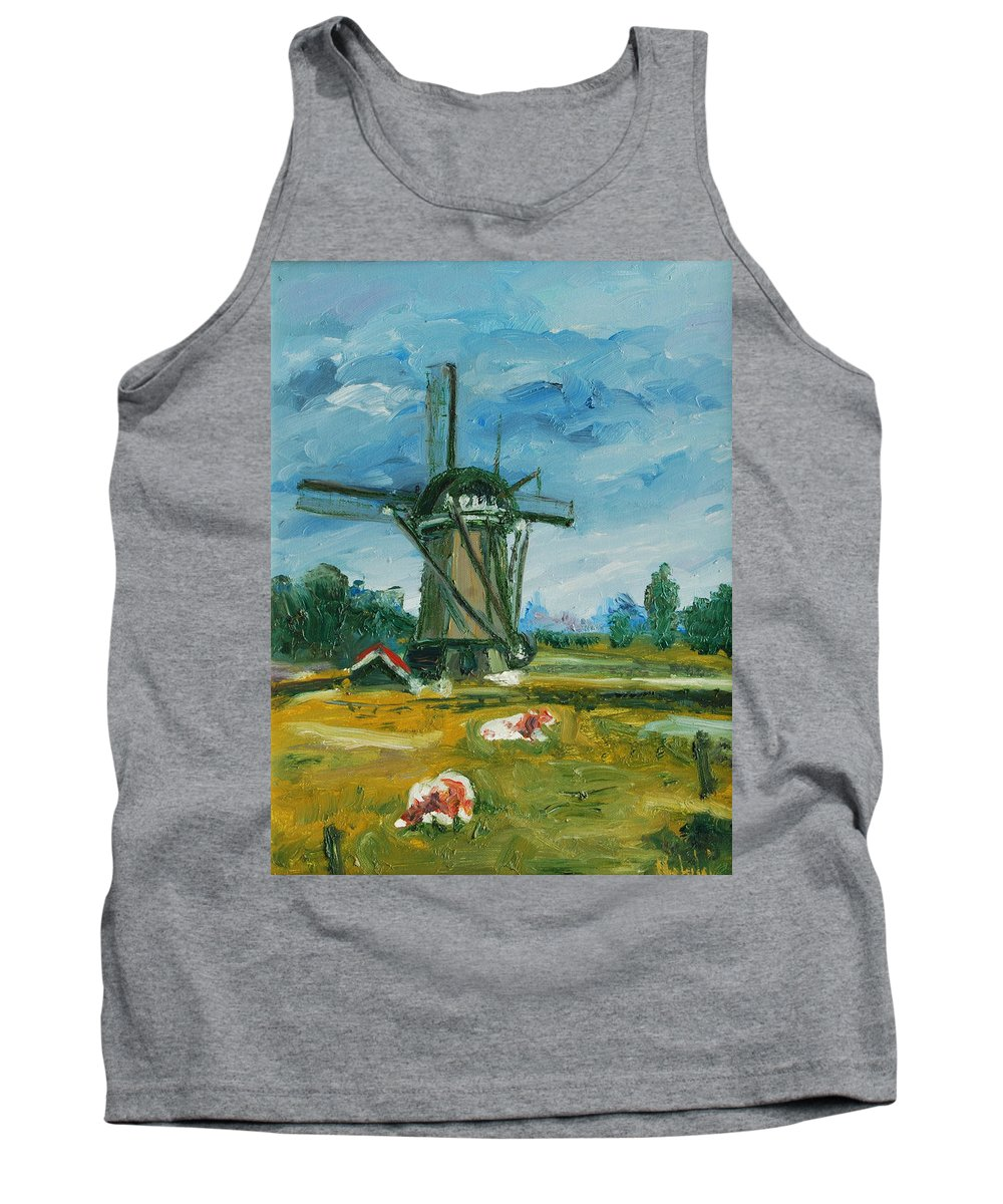 Farm Tank Top featuring the painting Two Cows by Rick Nederlof
