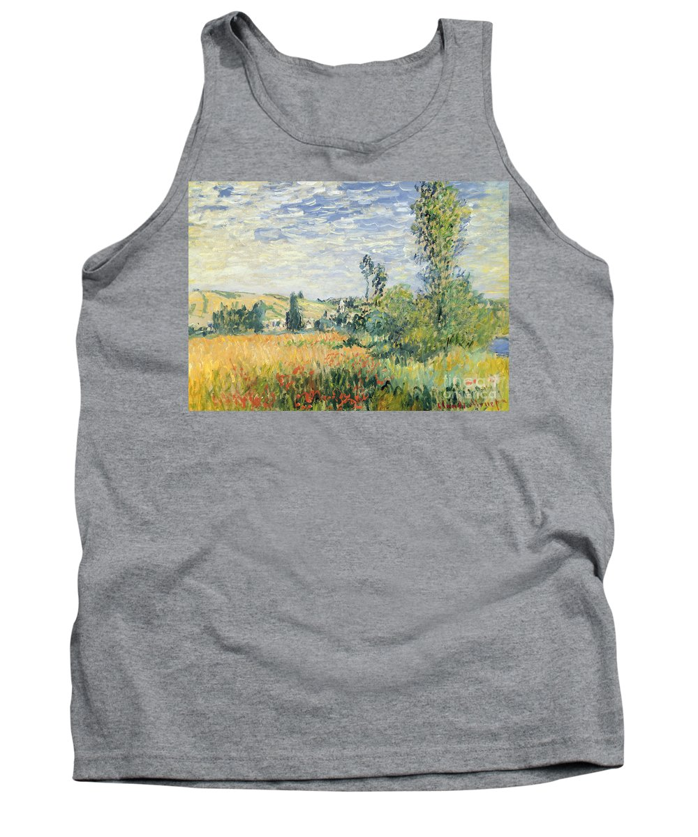 French Tank Top featuring the painting Vetheuil by Claude Monet