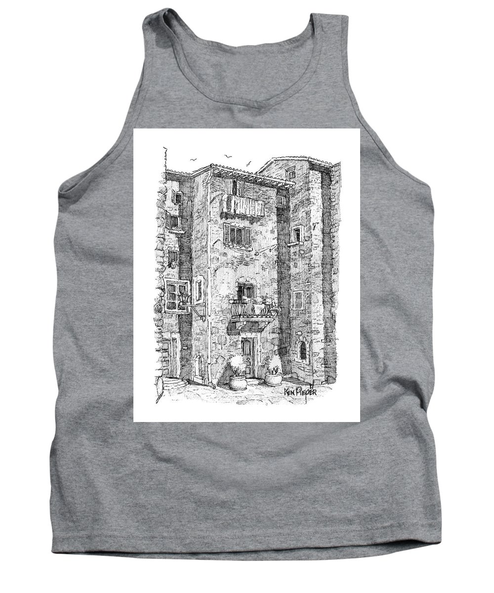 Architecture Tank Top featuring the drawing Wash Day In Montalcino Italy by Ken Pieper