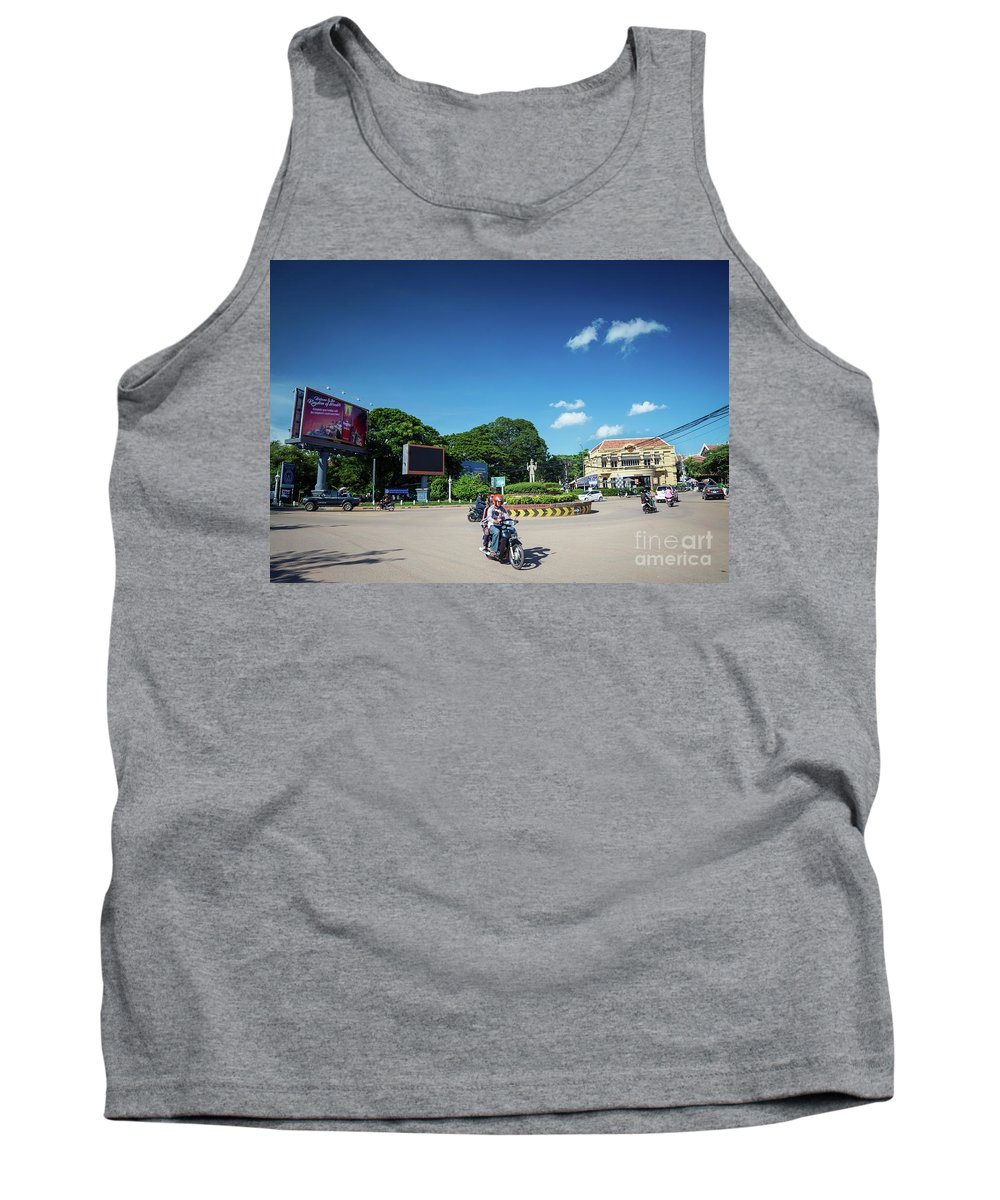 Architecture Tank Top featuring the photograph Wat Damnak Roundabout In Central Siem Reap City Cambodia by Jacek Malipan