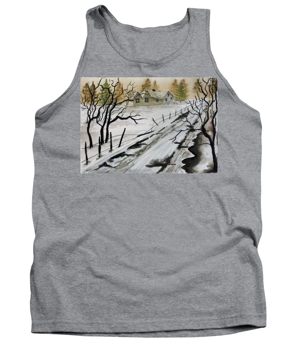 Building Tank Top featuring the painting Winter Farmhouse by Jimmy Smith