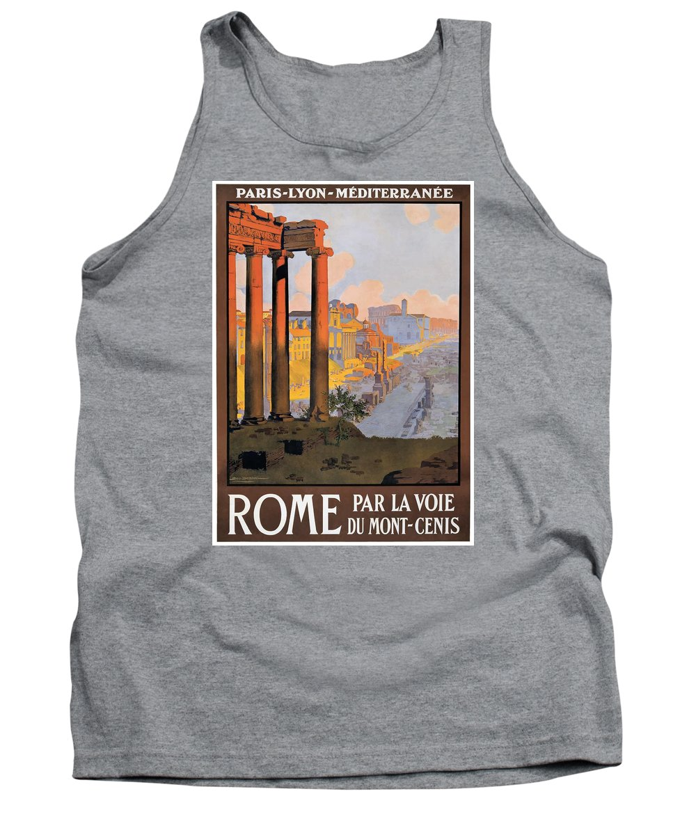 Vintage Train Tank Top featuring the digital art 1920 Paris To Rome Train Travel Poster by Retro Graphics