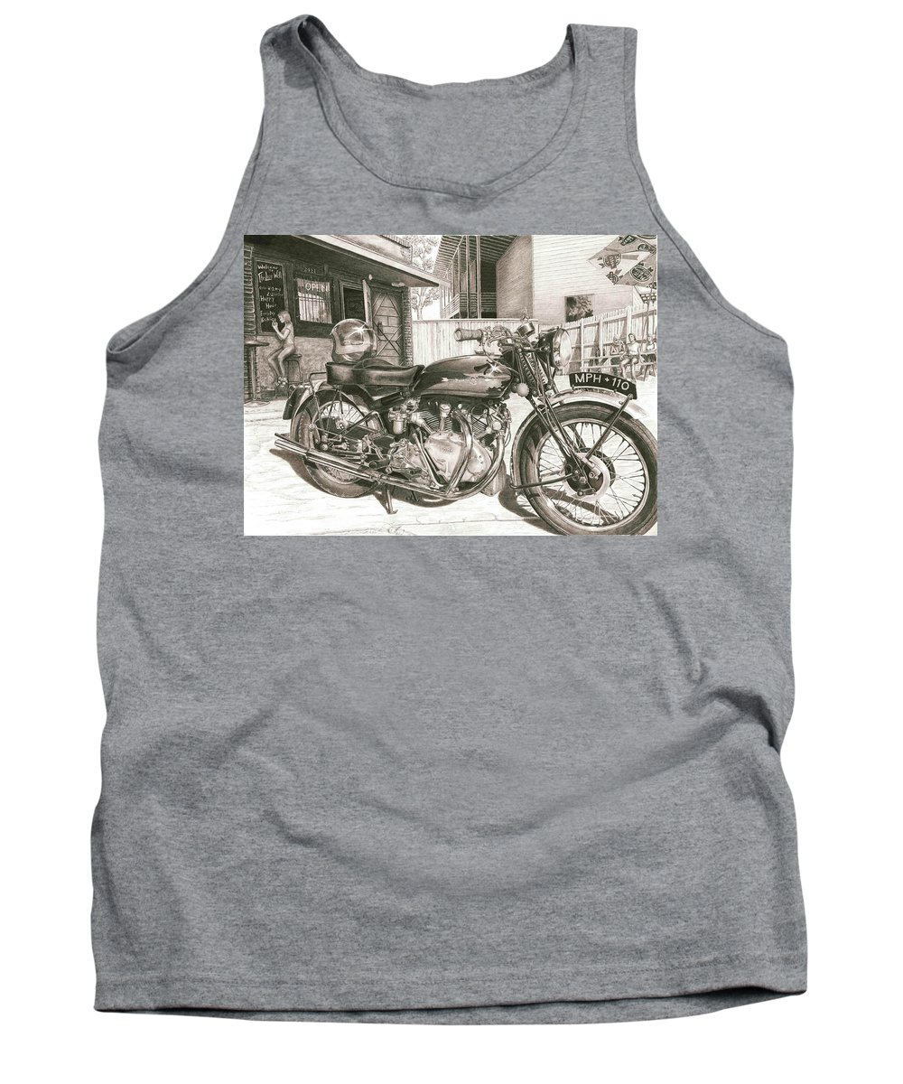 Vincent Tank Top featuring the drawing 1949 Vincent Rapide Hrd by Norman Bean