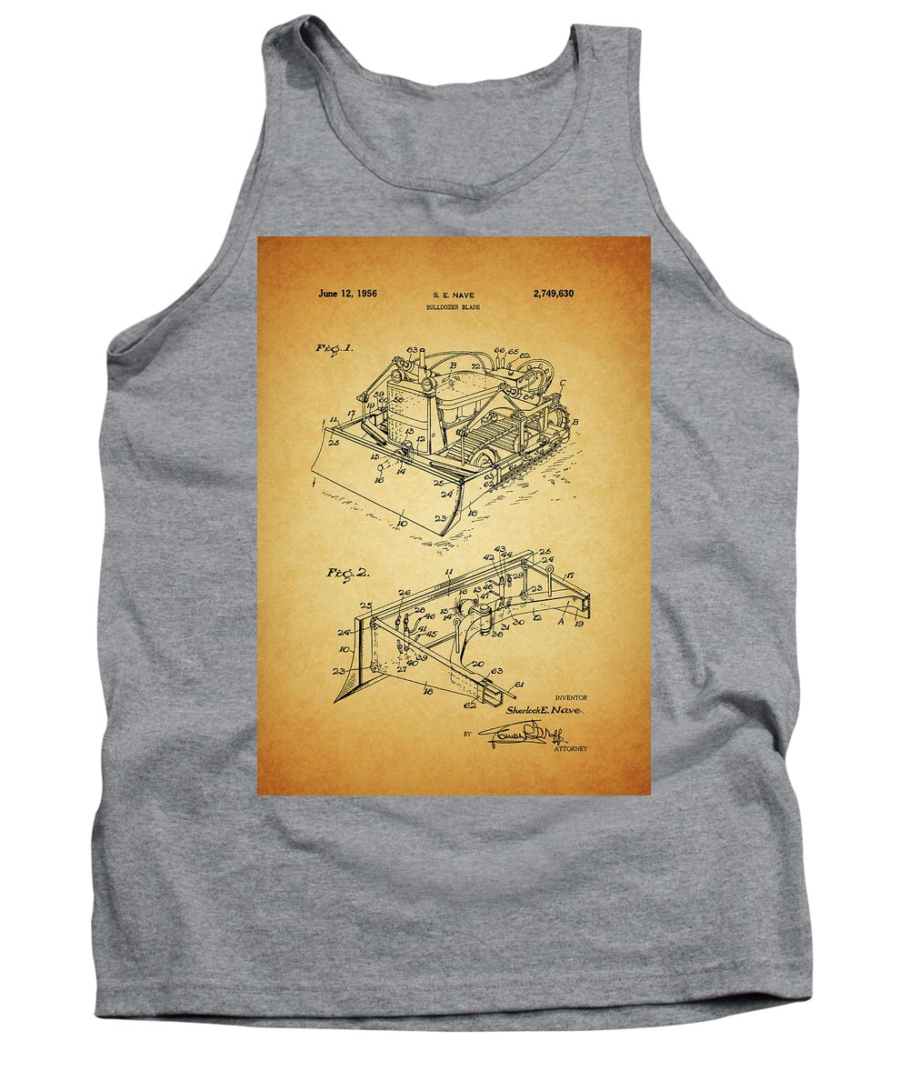 1956 Bulldozer Patent Tank Top featuring the mixed media 1956 Bulldozer Patent by Dan Sproul