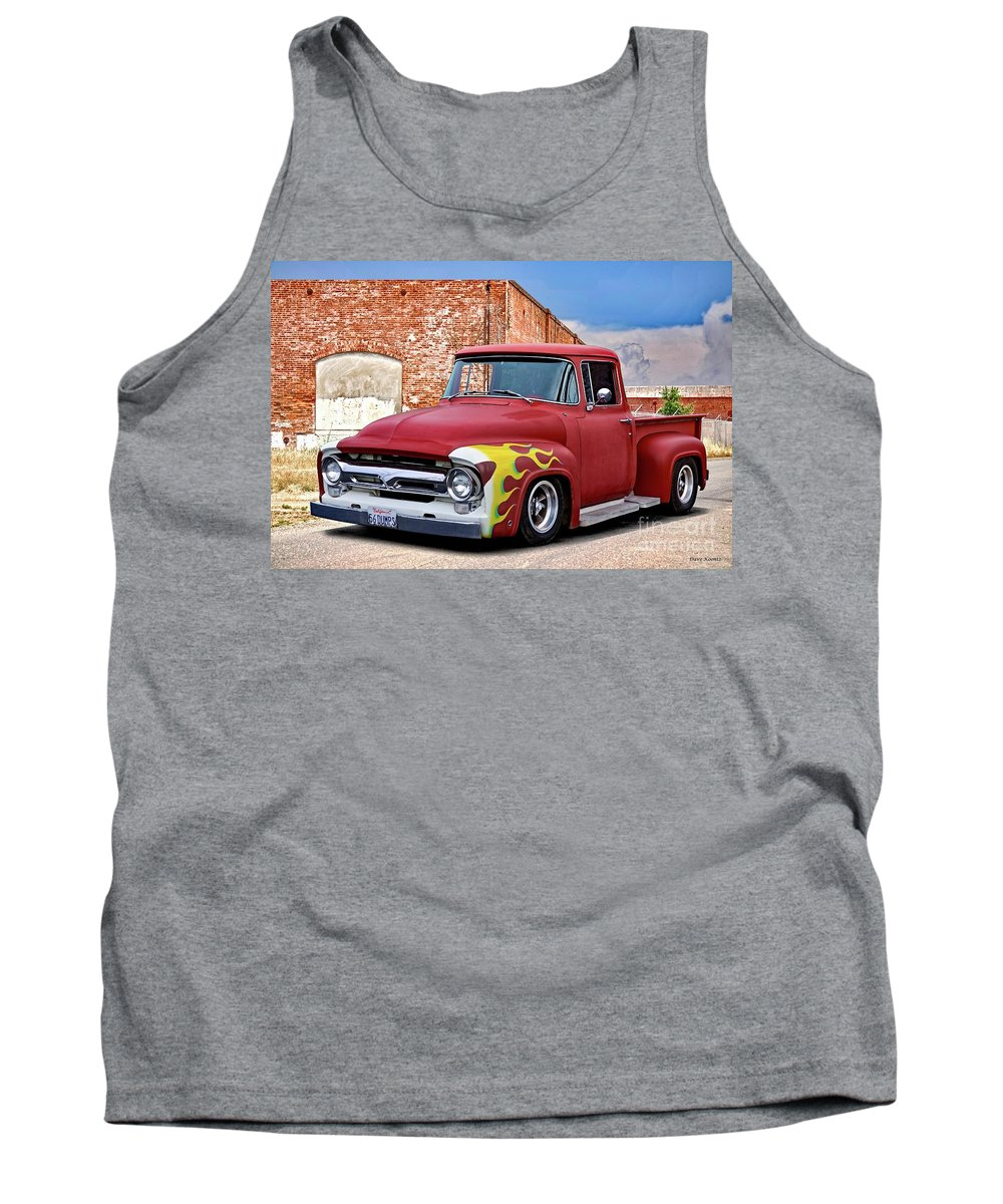 Automobile Tank Top featuring the photograph 1956 Ford F100 'brickyard' Pickup by Dave Koontz
