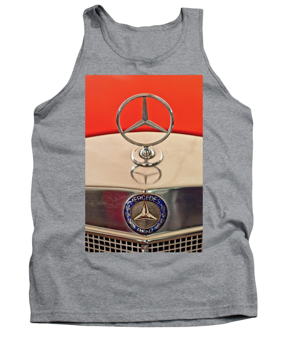 1957 Mercedes Benz 220 S Tank Top featuring the photograph 1957 Mercedes-benz 220 S Hood Ornament by Jill Reger