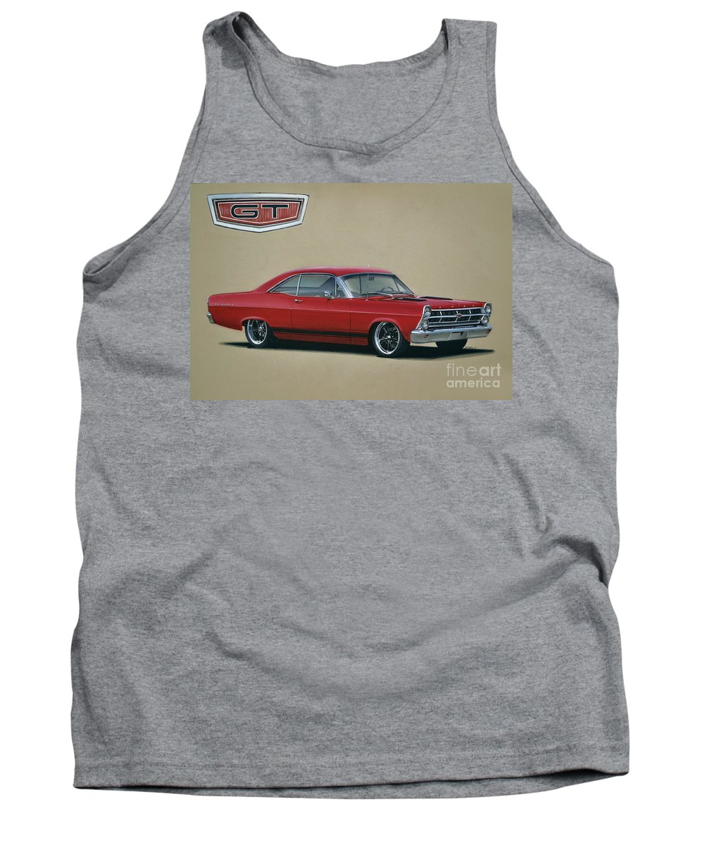 Fairlane Tank Top featuring the drawing 1967 Ford Fairlane Gt by Paul Kuras