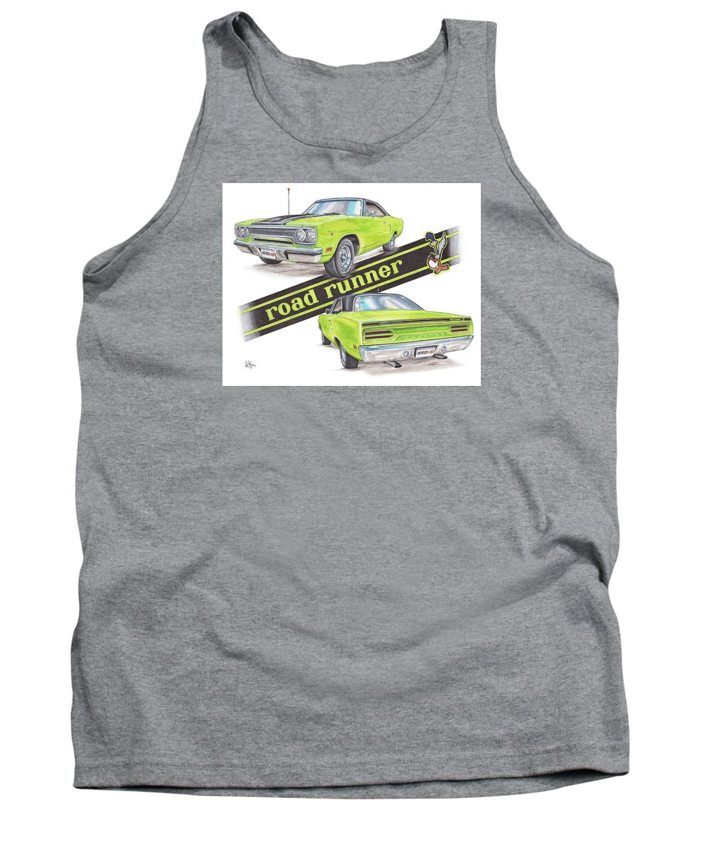 Road Runner Tank Top featuring the drawing 1970 Plymouth Road Runner by Shannon Watts