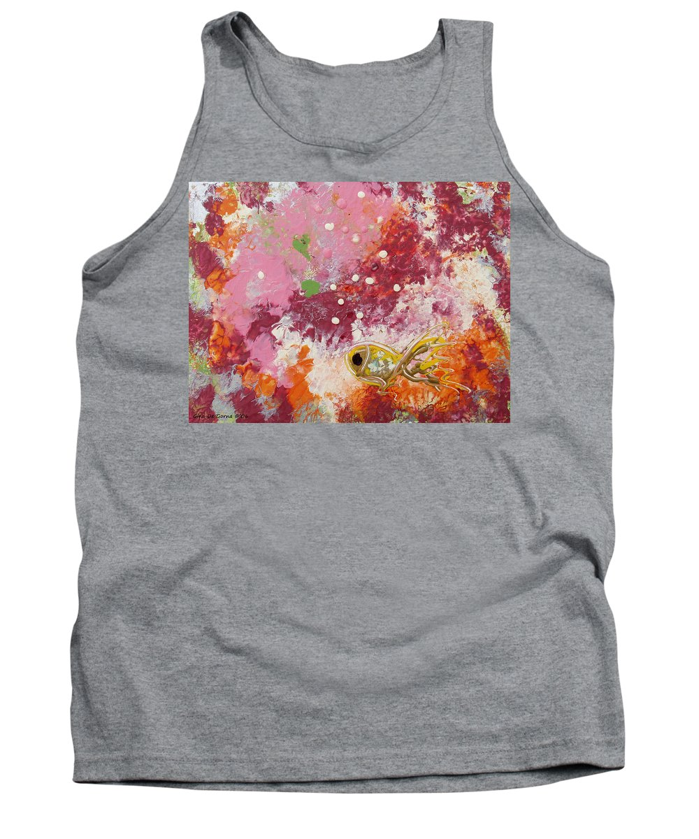 Fish Tank Top featuring the painting 1 Gold Fish by Gina De Gorna